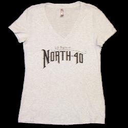 North 40 Ladies Heather White V Neck Tee